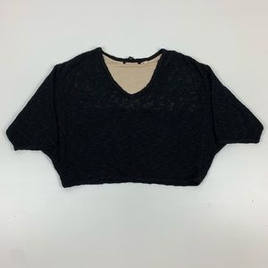 Knitted and Knotted Cropped Black Sweater